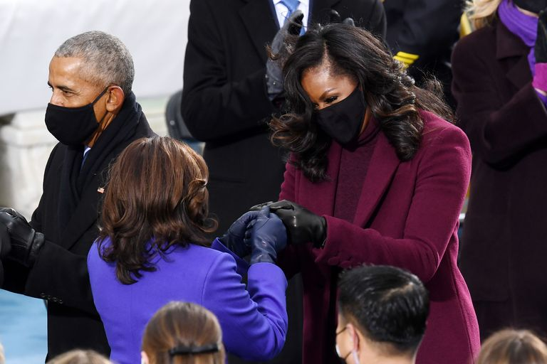 Vice President Kamala Harris and First Lady Michelle Obama Fist Bump at Inuaguration